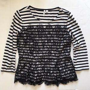 Elle Black & White Striped Floral Lace Peplum Top